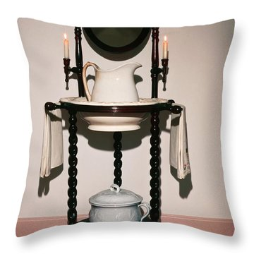 Antique Wash Stand Throw Pillow by Sally Weigand