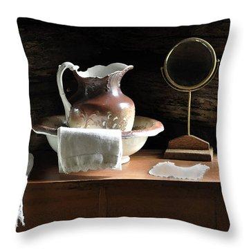 Antique Water Pitcher On Bureau Throw Pillow by Rebecca Brittain