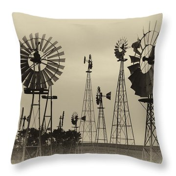 Antique Windmills Throw Pillow by Patricia Schaefer