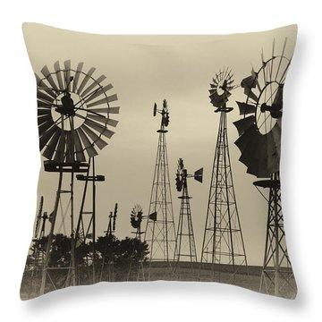 Antique Windmills Throw Pillow