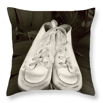 Antiqued Baby Shoes Throw Pillow by Ellen O'Reilly