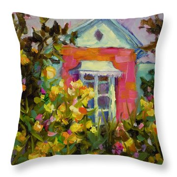 Throw Pillow featuring the painting Antoinette's Cottage by Chris Brandley