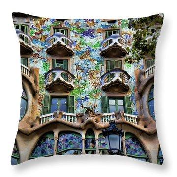 Antoni Gaudi's Casa Batllo Barcelona Spain  Throw Pillow