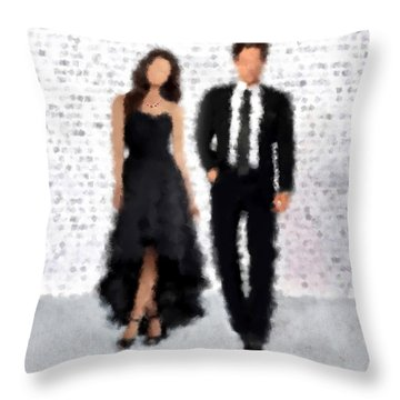 Throw Pillow featuring the digital art Antonia And Giovanni by Nancy Levan