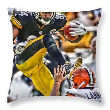 Antonio Brown Steelers Art 5 Throw Pillow