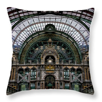 Antwerp Train Terminal Throw Pillow