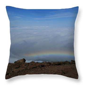 Anuenue - Rainbow At The Ahinahina Ahu Haleakala Sunrise Maui Hawaii Throw Pillow