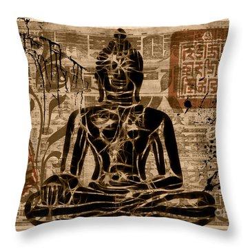 Throw Pillow featuring the mixed media Anuttara Samyak Sambodhi by Lita Kelley