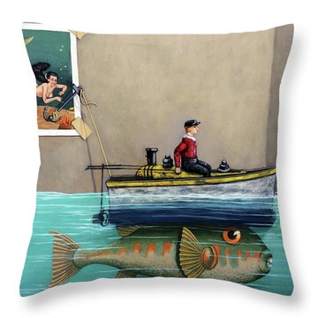 Anyfin Is Possible - Fisherman Toy Boat And Mermaid Still Life Painting Throw Pillow
