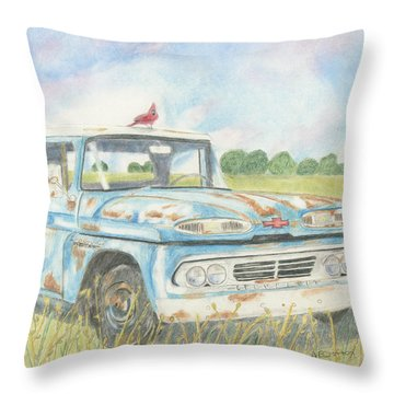 Throw Pillow featuring the drawing Apache Out To Pasture by Arlene Crafton