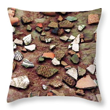 Throw Pillow featuring the photograph Apache Pottery Shards by Juls Adams