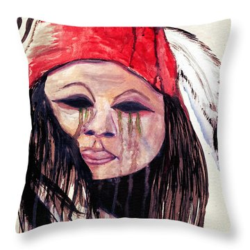 Watercolor Painting Of Apache Tears By Ayasha Loya Throw Pillow
