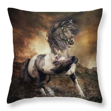 Apache War Horse Landscape Throw Pillow
