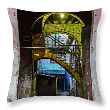 Throw Pillow featuring the photograph Apartment Enrance Havana Cuba Near Calle C by Charles Harden