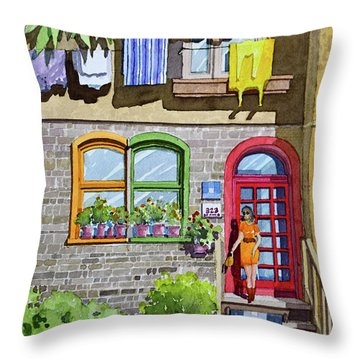 Apartment With Red Door Throw Pillow