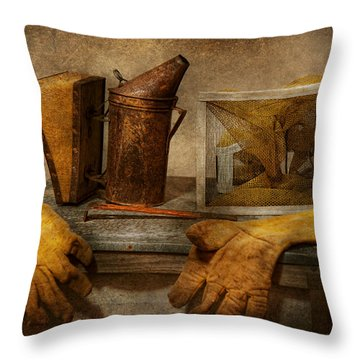 Apiary - The Beekeeper  Throw Pillow by Mike Savad