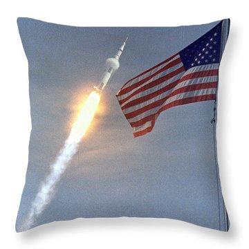 Apollo 11 Launch Throw Pillow