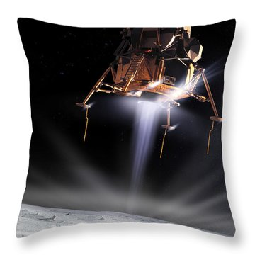 Apollo 11 Moon Landing Throw Pillow by Detlev Van Ravenswaay and Photo Researchers