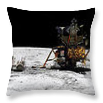 Apollo 16 Landing Site In The Lunar Throw Pillow by Stocktrek Images