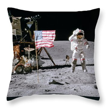Apollo 16 Throw Pillow by Peter Chilelli