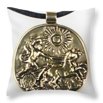 Throw Pillow featuring the jewelry Apollo And His Chariot To The Sun - Bronze Pendant by Vagabond Folk Art - Virginia Vivier