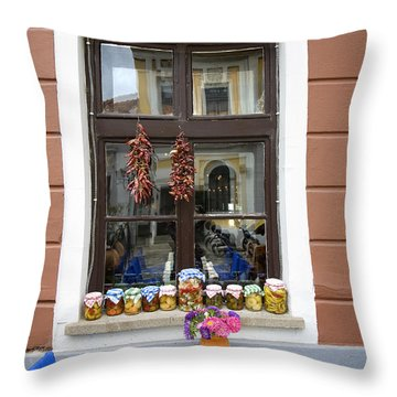 Apothecary Jars On Windowsill  Throw Pillow by Madeline Ellis