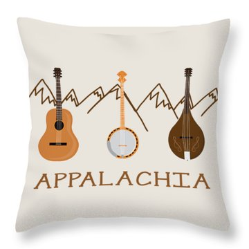 Throw Pillow featuring the digital art Appalachia Mountain Music by Heather Applegate