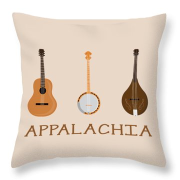 Throw Pillow featuring the digital art Appalachia Music by Heather Applegate