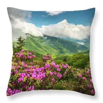Appalachian Mountains Spring Flowers Scenic Landscape Asheville North Carolina Blue Ridge Parkway Throw Pillow