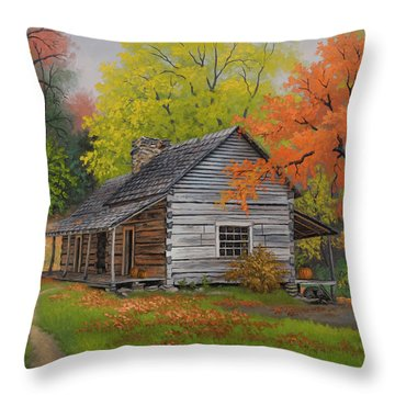 Throw Pillow featuring the painting Appalachian Retreat-autumn by Kyle Wood