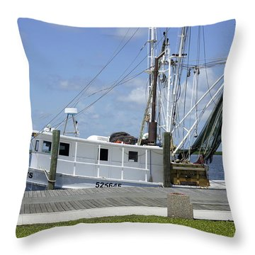 Appalachicola Shrimp Boat Throw Pillow by Laurie Perry
