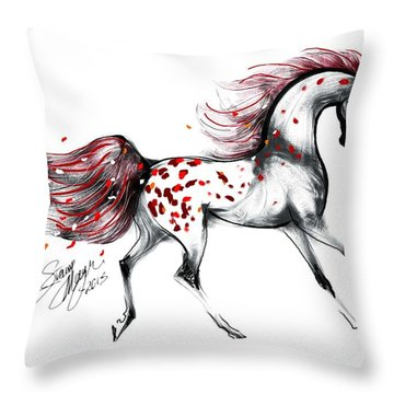 Appaloosa Rose Petals Horse Throw Pillow