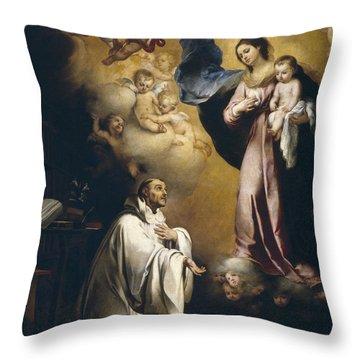 Apparition Of The Virgin To Saint Bernardo  Throw Pillow