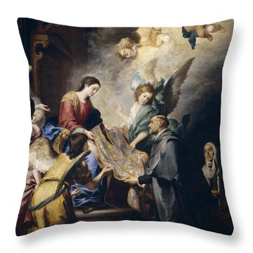 Apparition Of The Virgin To Saint Ildefonso  Throw Pillow