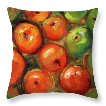 Throw Pillow featuring the painting Apple Barrel Still Life by Nancy Merkle