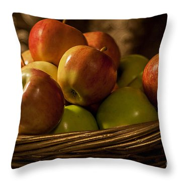 Apple Basket Throw Pillow