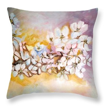 Throw Pillow featuring the painting Apple Blooms by Donna Dixon