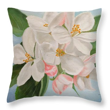 Throw Pillow featuring the painting Apple Blossom by Angeles M Pomata