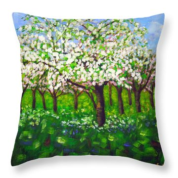 Apple Blossom Orchard Throw Pillow