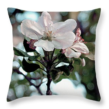 Throw Pillow featuring the painting Apple Blossom Time by RC deWinter