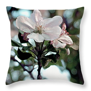 Apple Blossom Time Throw Pillow by RC deWinter