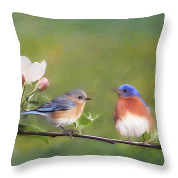 Apple Blossoms And Bluebirds Throw Pillow