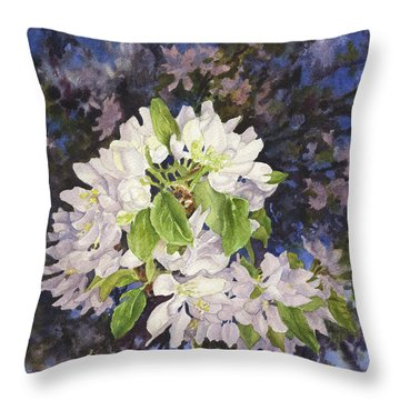 Apple Blossoms At Dusk Throw Pillow