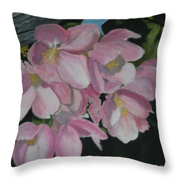 Throw Pillow featuring the painting Apple Blossoms by Betty-Anne McDonald