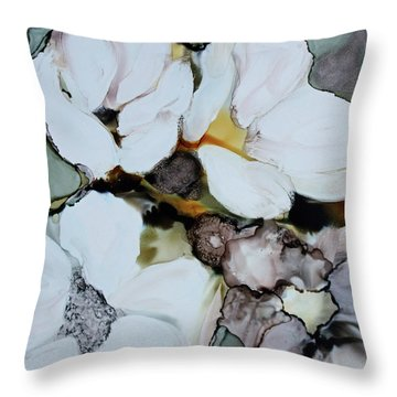 Throw Pillow featuring the painting Apple Blossoms by Joanne Smoley