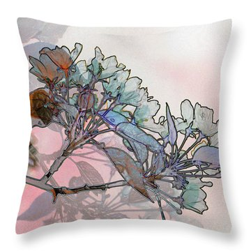 Throw Pillow featuring the digital art Apple Blossoms by Stuart Turnbull