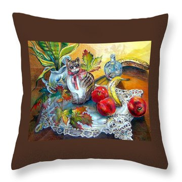 Apple Cat Throw Pillow