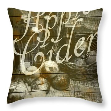 Apple Cider Sign Printed On Rustic Wood Planks Throw Pillow