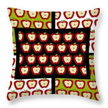 Throw Pillow featuring the digital art Apple For The Teacher- Cute Art by KayeCee Spain