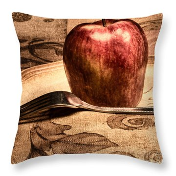 Apple Throw Pillow by Lawrence Burry
